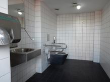 Foto zeigt Behinderten-WC Inselwiese von Innen, Ansbach barrierefrei
