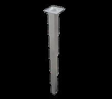 pata en tubo de 40 x 40mm con base superior en 3mm y tapa inferior en acero inoxidable.