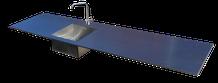 encimera de acero inoxidable con fregadero soldado en una pieza