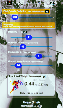 Personalized weight burner android app