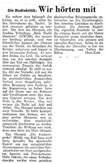 Wir hören mit - Radiokritik (Telegraf, 30.10.1952)