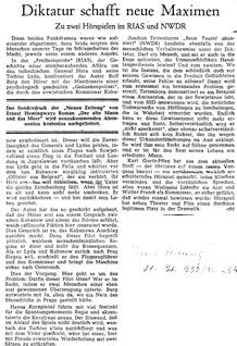Diktatur schafft neue Maximen (Neue Zeitung, 31.10.1952)
