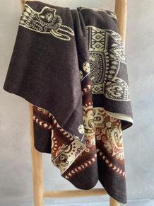 alpaca blanket deken brown green zuid amerika ecuador
