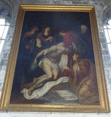 """Seclin, église St Piat - """"La Descente de la Croix"""" - Toile anonyme - XVIIe siècle  Objet classé depuis le 21 Janvier 1974."""