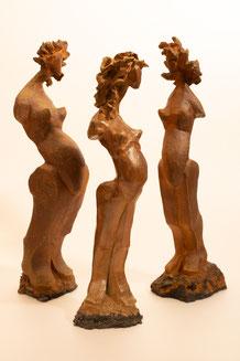 """""""Femmes"""" Sculptures grès -Juan José Ruiz dit Caco- .....cuisson dans le  Four à Bois """"NOBORIGAMA"""" de """"Caco et Sylvie"""""""