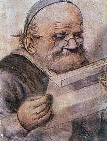 """""""François Rabelais lisant"""", dessin anonyme du début du XVIIe siècle, Musée Carnavalet, Paris (source : Wikimedia Commons)."""