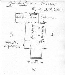 Grundriss-Skizze  der vierten Olfener Kirche
