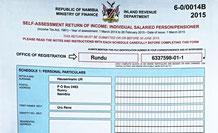 Namibische Steuererklärung ist eingetroffen