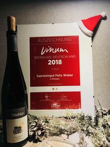 Saarwein, Saar Riesling, Weingut Felix Weber, Wiltingen, Auszeichnung Vinum