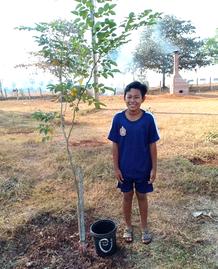 5年生のソクラスカくん。「僕が植えた木です。1 週間に2~3 回水やりをしています。森が無くなるとどのような問題が起きるのかを教えてもらい、森の大切さも良く分かりました」