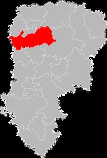 En rouge, le canton de Ribemont. Crédit photo : internet.
