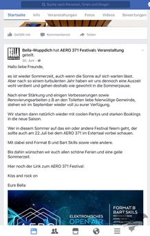 Screenshot von der Facebookseite das Bella Wuppdich / Foto: Dunkelklaus