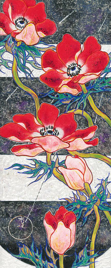 """""""Spring Fluttering Anemone""""  37.2 x 15.5 cm   Traditional Japanese Painting.  Framed."""