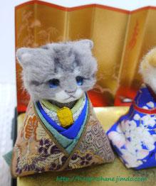 羊毛フェルト ねこお雛様 japanese doll 「ohinasama」cat ver.