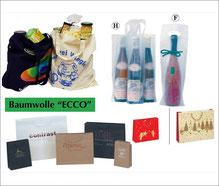 Baumwolltaschen, Papiertaschen und Flaschentaschen, mit Logodruck