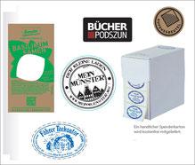 Schmucketiketten bzw. Werbeetiketten, rund, mit Logoeindruck, Spenderbox