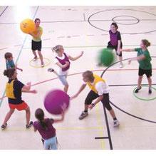 Ballon de Kin-ball géant Omnikin six à prix discount pour sports collectifs enfants
