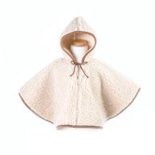 poncho pour enfant en laine naturelle de moiton marron fille garçon