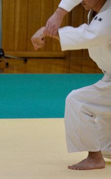片手取り外巡り相半身外入り身転換から呼吸投げ:畳んだ上肢が肘を開いて解かれると同時に、掌を包んで蓋をしている母指先が額から真下の地に降氣で結ぶ。