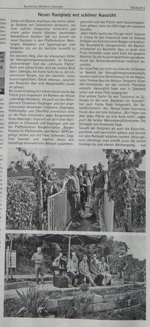 RMZ, 9.8.2013. Ein Genuss mit herrlicher Aussicht. Ein Lob auch von der WG und vom Neckar-Zaber-Tourismus.