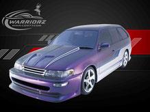 カスタムペイント車、マジョーラ塗装にグラフィックス塗装されたトヨタカローラワゴンの写真