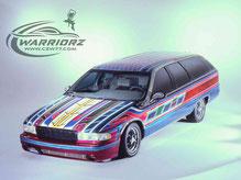 カスタムペイント車、キャンディー塗装でマルチカラーでソウルペイントされたアメ車1989年カプリスステーションワゴン、ローライダー
