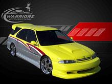 カスタムペイント車、ライムイエローパール塗装されたボディーにグラフィックス塗装がいれられたホンダアコードワゴン