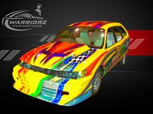 カスタム車、イエローパル塗装のボディー全体にグラフィックス塗装されたトヨタカローラワゴンのカスタムカーの写真