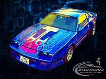 カスタムペイント車、ブリスターフェンダー加工してキャンディーフレークブルーでソウルペイントされたアメ車1989年カマロIROC Z