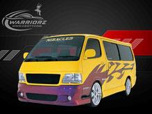 カスタムペイント車、イエローにペイントしたボディーにカメレオンカラーでグラフィックス塗装をいれたトヨタハイエースの写真