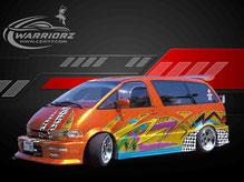カスタムペイント車、キャンディーフレーク塗装で派手にボディー全体にグラフィックス塗装されたトヨタエスティマの写真