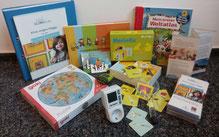 Material des Materialpaketes: Flyer, Handreichung, Spiele, Bücher
