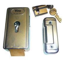 Electric lock VIRO horizontal latch + canon for AKIA France System's wheeled motor drive