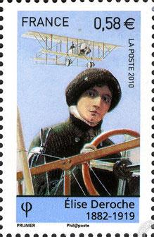 En hommage aux pionnier.e.s de l'aviation, la poste française émet le 18 octobre 2010 un timbre à l'effigie d'Élise Deroche, première aviatrice brevetée au monde.