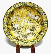 九谷焼『飾り皿』本金鳳凰の図 43cm
