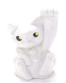 九谷焼通販 招き猫 左手 4号 ホワイト 裏書
