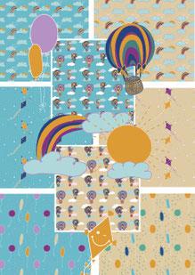 Stoff Kollektion, biologisch, nachhaltig, fair, handmade, Illustration, Hannover, shoplocal, Meterware, Heißluftballon, Regenbogen, Luftballon, Drachen steigen