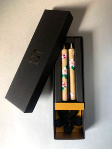 3500円の桜クリスタル手描き絵えろうそく燭台セット