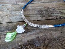 Collier in Drahtwebtechnik mit Perlen