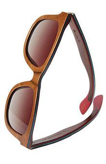 Eckige Sonnenbrille aus Skateboard Holz