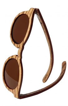 Runde Sonnenbrille aus Skateboard Holz