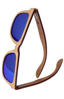 Eckige Holz Sonnenbrille mit starker Brücke