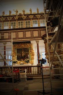 Eutiner Schlosskirche während der Restaurierungsmaßnahmen