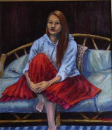 ソファーに座る女性 ( 油彩・F10 )
