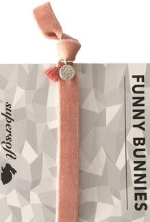 1 elastisches Samt Armband mit Tassel und Anhänger Velvet 01