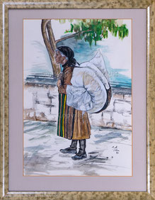 Nr. 2685 Frau mit Wäschebündel