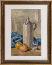 Nr. 2923 Stilleben mit Aepfel und Flasche