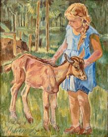 Nr. 3512 Mädchen mit junger Ziege