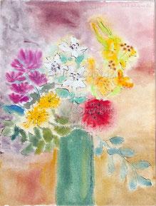 Nr,2081  Blumen in grüner Vase