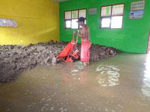 海水が流入した教室の嵩上げ